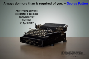 AMF Typing Services - Always do more than is required of you. by George Patton