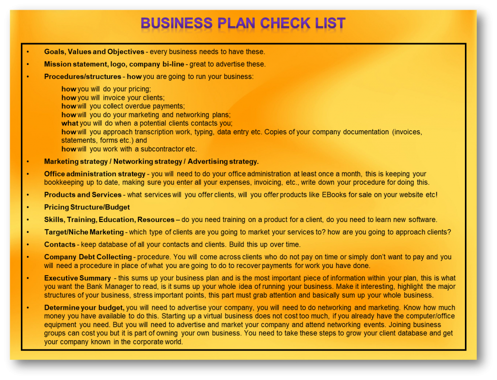 Business Plan Check List, VA Image