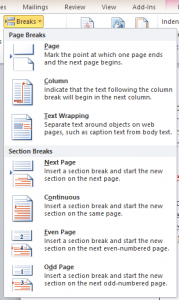 Word Break Pages, Document Formatting Images